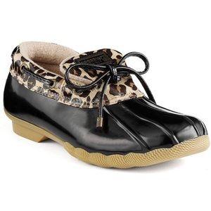 Sperry Cormorant Leopard Duck Boot Size 9